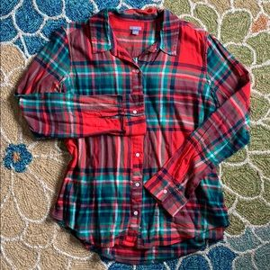 Aerie red and green flannel top